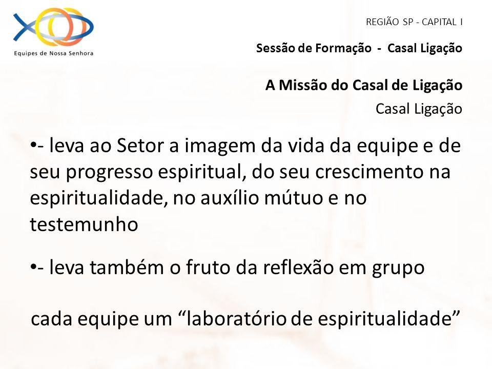 REGIÃO SP - CAPITAL I Sessão de Formação - Casal Ligação A Missão do Casal de Ligação Casal Ligação - leva ao Setor a imagem da vida da equipe e de se