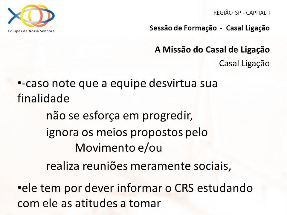 REGIÃO SP - CAPITAL I Sessão de Formação - Casal Ligação A Missão do Casal de Ligação Casal Ligação -caso note que a equipe desvirtua sua finalidade n