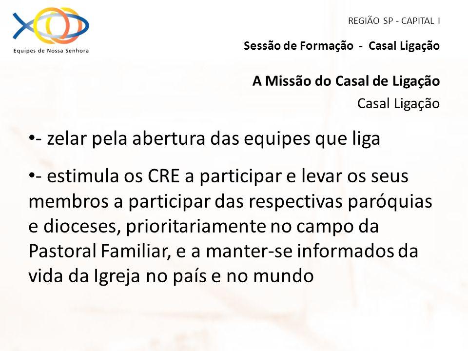 REGIÃO SP - CAPITAL I Sessão de Formação - Casal Ligação A Missão do Casal de Ligação Casal Ligação - zelar pela abertura das equipes que liga - estim