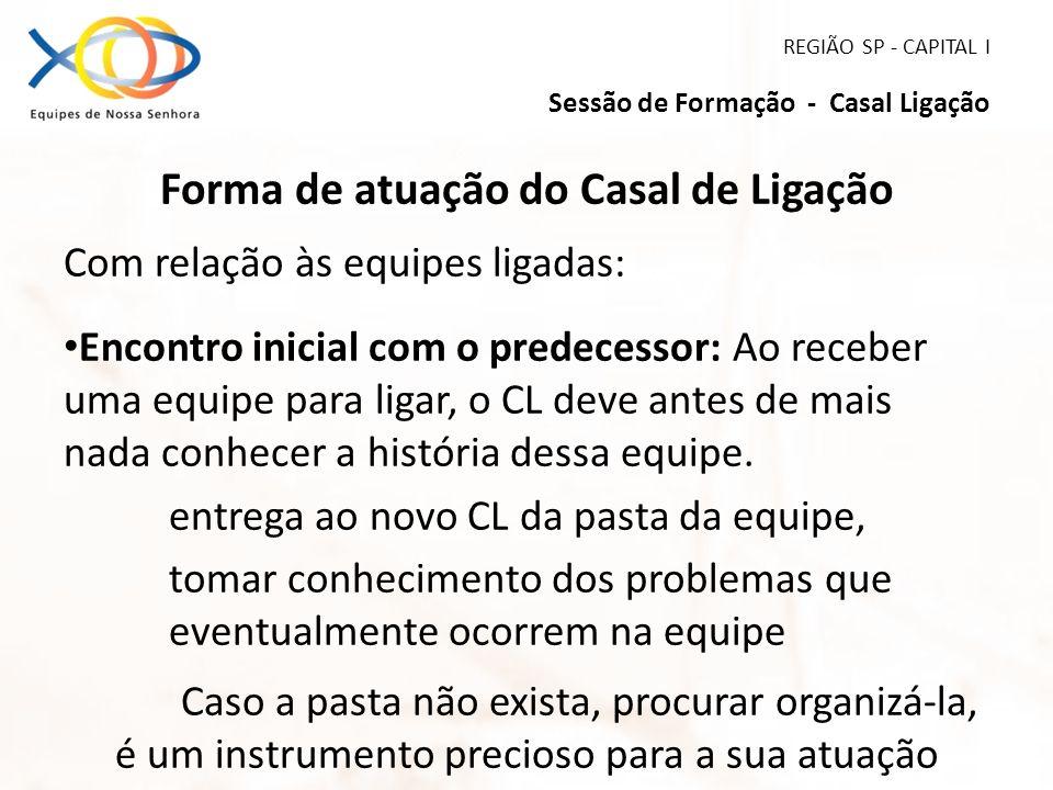 REGIÃO SP - CAPITAL I Sessão de Formação - Casal Ligação Forma de atuação do Casal de Ligação Com relação às equipes ligadas: Encontro inicial com o p
