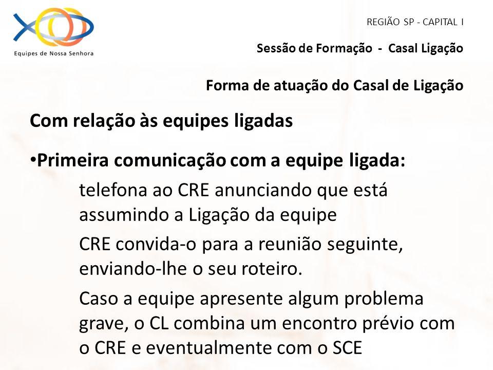 REGIÃO SP - CAPITAL I Sessão de Formação - Casal Ligação Forma de atuação do Casal de Ligação Com relação às equipes ligadas Primeira comunicação com