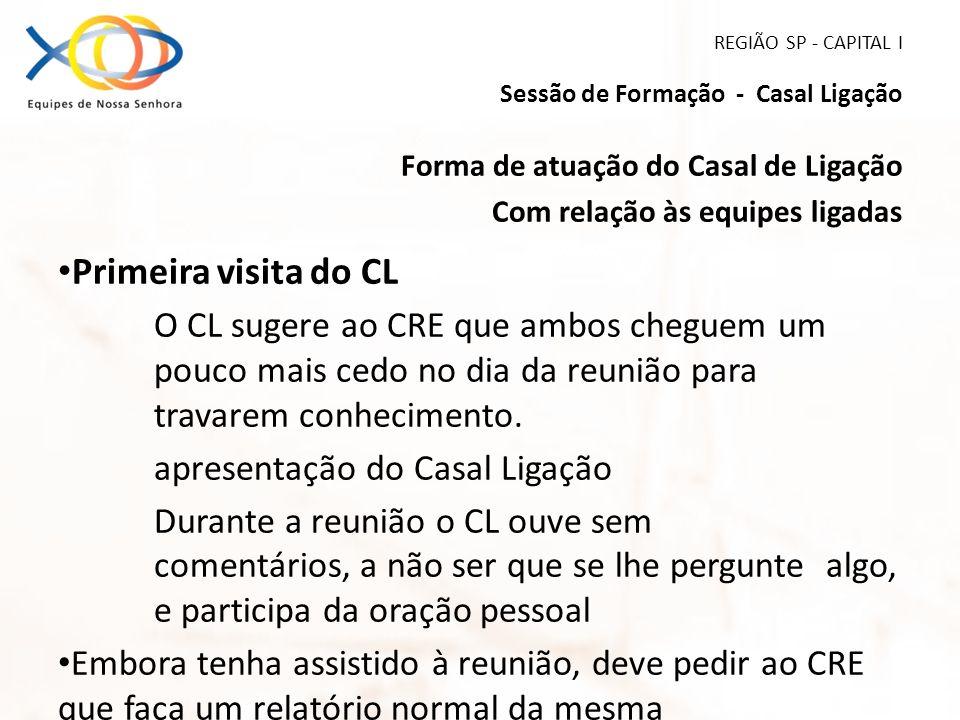REGIÃO SP - CAPITAL I Sessão de Formação - Casal Ligação Forma de atuação do Casal de Ligação Com relação às equipes ligadas Primeira visita do CL O C