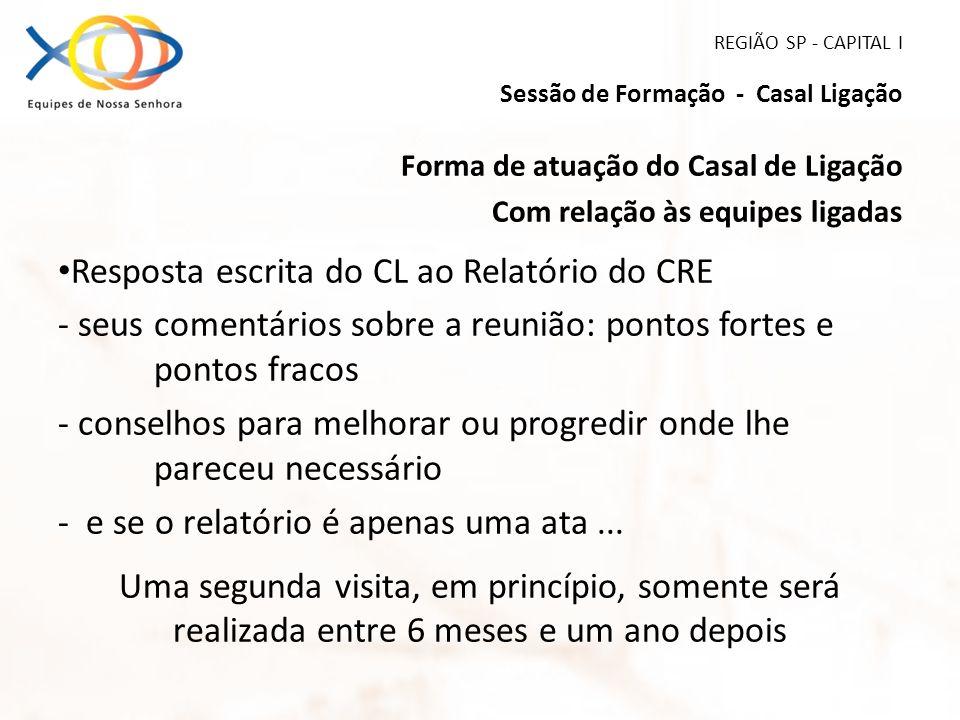 REGIÃO SP - CAPITAL I Sessão de Formação - Casal Ligação Forma de atuação do Casal de Ligação Com relação às equipes ligadas Resposta escrita do CL ao