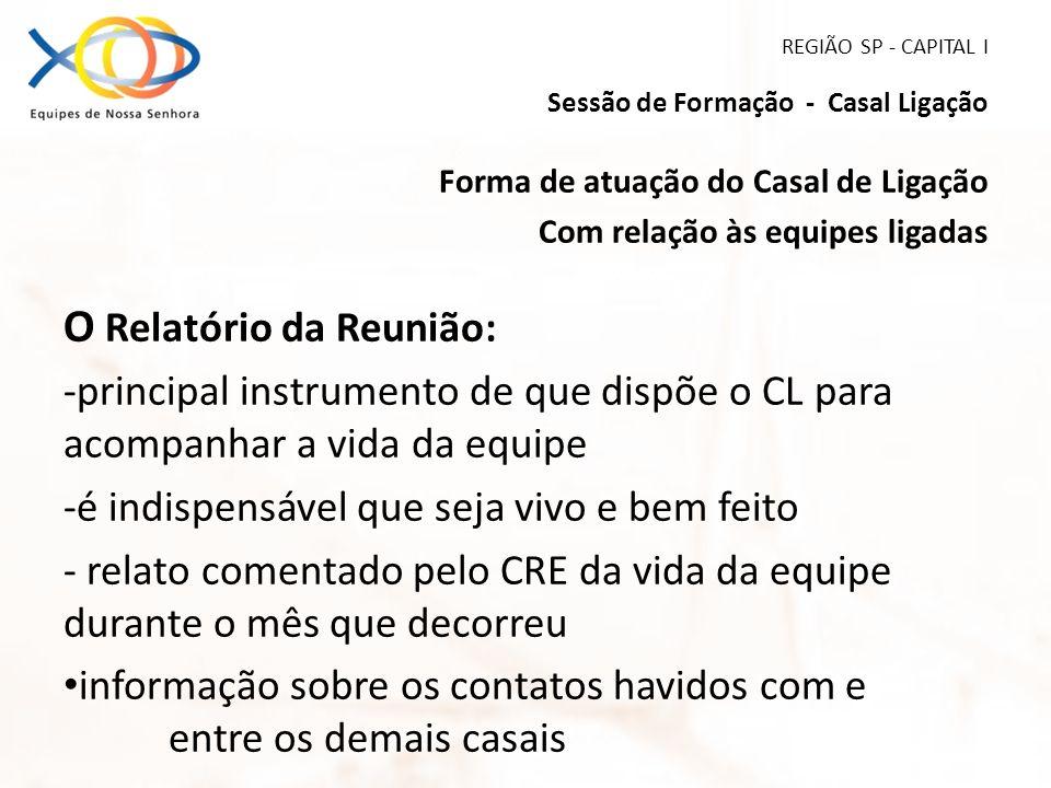 REGIÃO SP - CAPITAL I Sessão de Formação - Casal Ligação Forma de atuação do Casal de Ligação Com relação às equipes ligadas O Relatório da Reunião: -