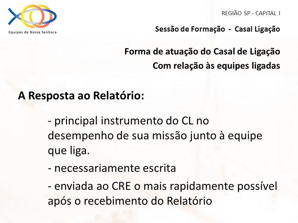 REGIÃO SP - CAPITAL I Sessão de Formação - Casal Ligação Forma de atuação do Casal de Ligação Com relação às equipes ligadas A Resposta ao Relatório: