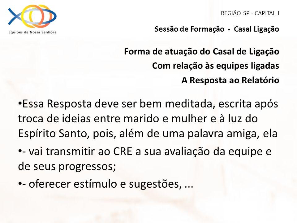 REGIÃO SP - CAPITAL I Sessão de Formação - Casal Ligação Forma de atuação do Casal de Ligação Com relação às equipes ligadas A Resposta ao Relatório E