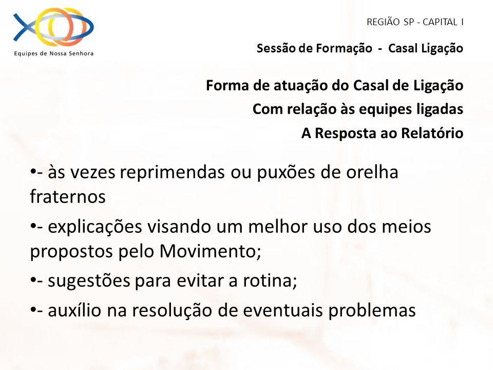 REGIÃO SP - CAPITAL I Sessão de Formação - Casal Ligação Forma de atuação do Casal de Ligação Com relação às equipes ligadas A Resposta ao Relatório -