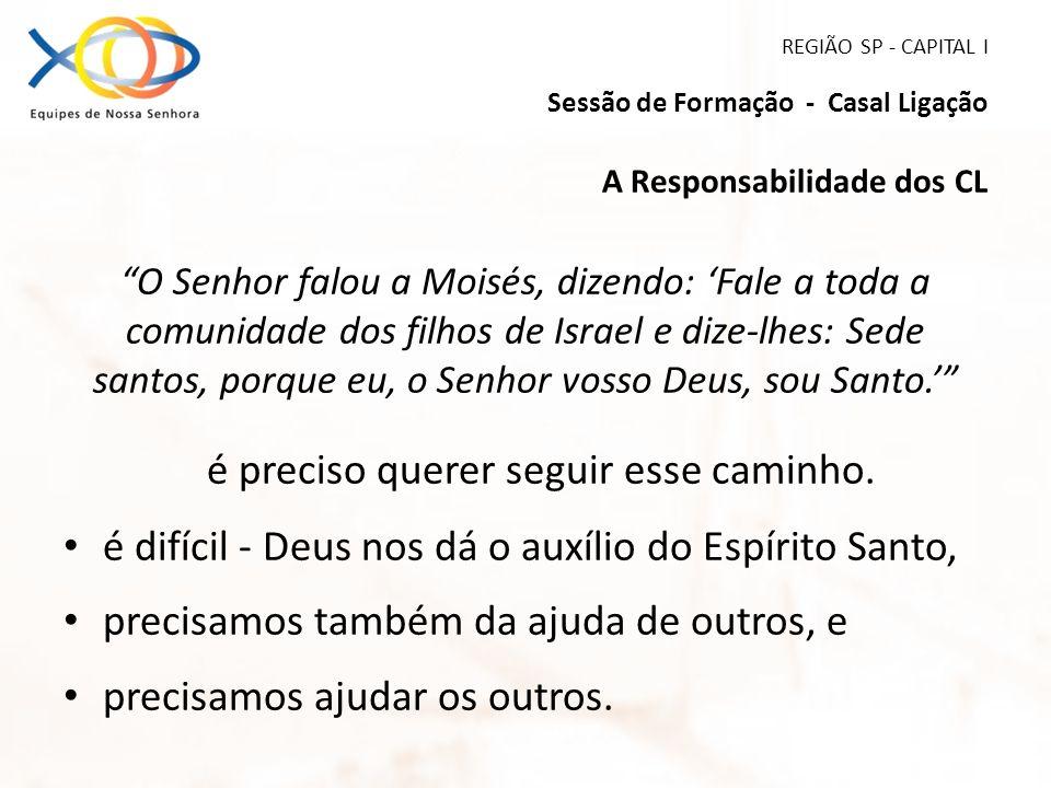 REGIÃO SP - CAPITAL I Sessão de Formação - Casal Ligação A Responsabilidade dos CL O Senhor falou a Moisés, dizendo: Fale a toda a comunidade dos filh