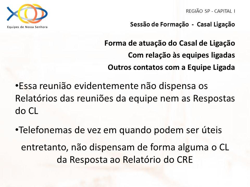 REGIÃO SP - CAPITAL I Sessão de Formação - Casal Ligação Forma de atuação do Casal de Ligação Com relação às equipes ligadas Outros contatos com a Equ
