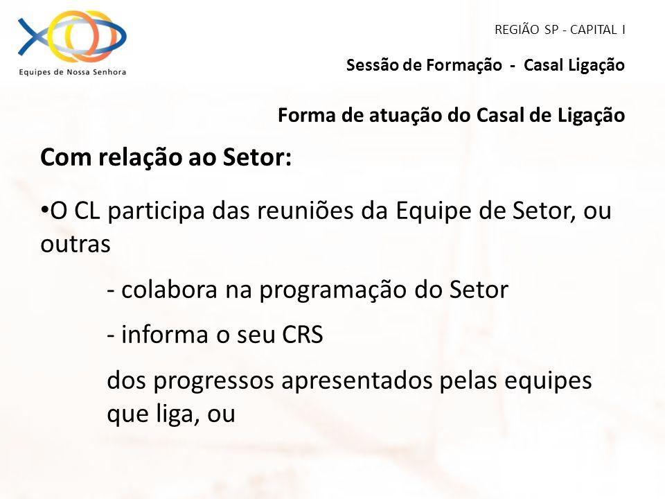 REGIÃO SP - CAPITAL I Sessão de Formação - Casal Ligação Forma de atuação do Casal de Ligação Com relação ao Setor: O CL participa das reuniões da Equ