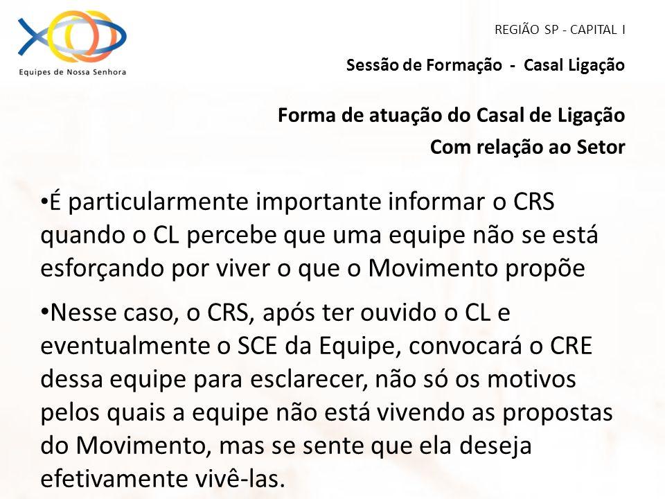 REGIÃO SP - CAPITAL I Sessão de Formação - Casal Ligação Forma de atuação do Casal de Ligação Com relação ao Setor É particularmente importante inform