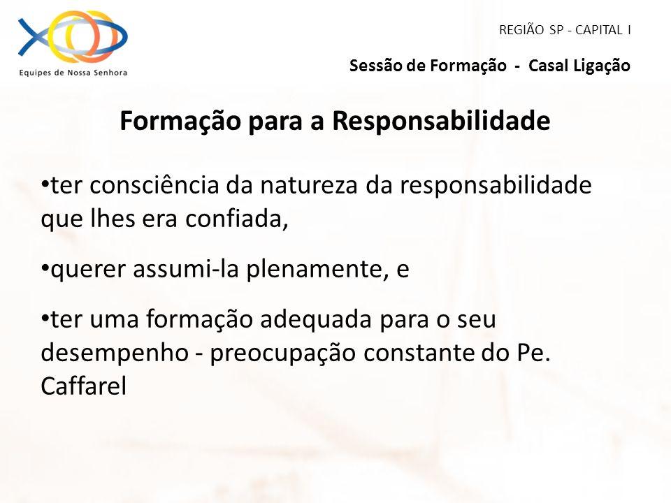 REGIÃO SP - CAPITAL I Sessão de Formação - Casal Ligação Formação para a Responsabilidade ter consciência da natureza da responsabilidade que lhes era