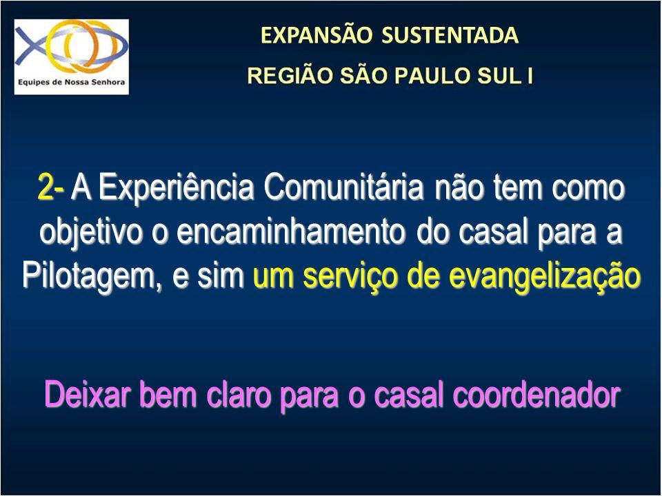 EXPANSÃO SUSTENTADA 2- A Experiência Comunitária não tem como objetivo o encaminhamento do casal para a Pilotagem, e sim um serviço de evangelização D