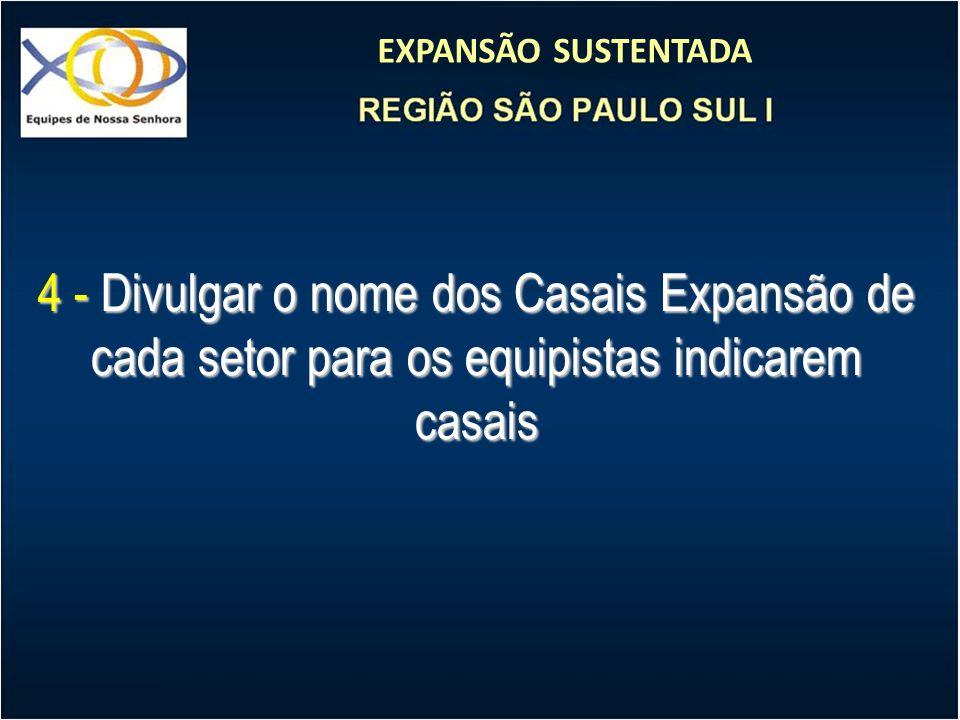 EXPANSÃO SUSTENTADA 4 - Divulgar o nome dos Casais Expansão de cada setor para os equipistas indicarem casais
