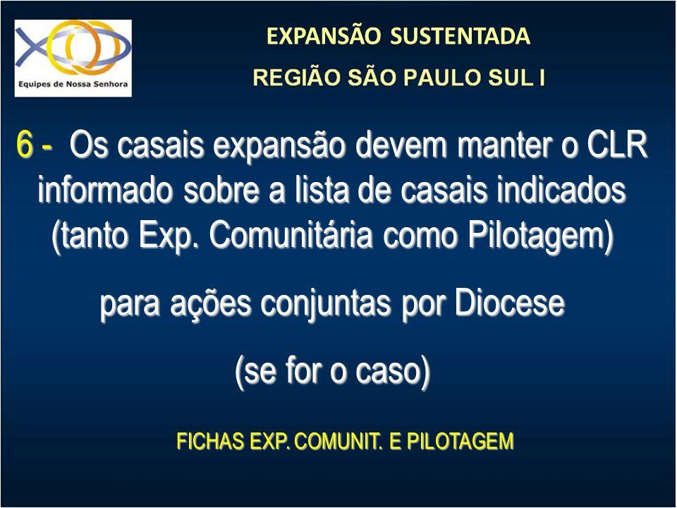 EXPANSÃO SUSTENTADA 6 - Os casais expansão devem manter o CLR informado sobre a lista de casais indicados (tanto Exp. Comunitária como Pilotagem) para