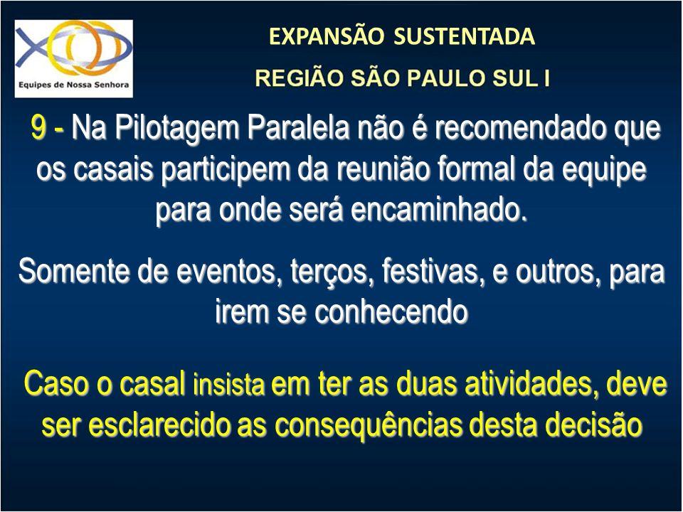 EXPANSÃO SUSTENTADA 9 - Na Pilotagem Paralela não é recomendado que os casais participem da reunião formal da equipe para onde será encaminhado. 9 - N