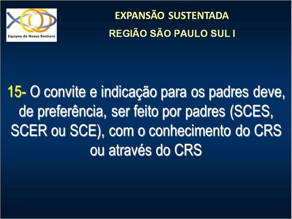 EXPANSÃO SUSTENTADA 15- O convite e indicação para os padres deve, de preferência, ser feito por padres (SCES, SCER ou SCE), com o conhecimento do CRS