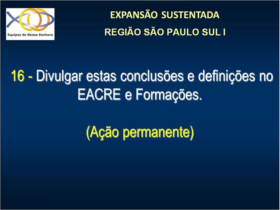 EXPANSÃO SUSTENTADA 16 - Divulgar estas conclusões e definições no EACRE e Formações. 16 - Divulgar estas conclusões e definições no EACRE e Formações