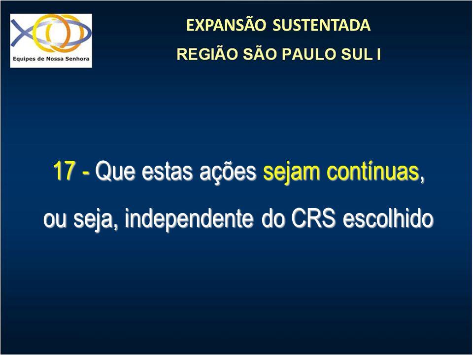 EXPANSÃO SUSTENTADA 17 - Que estas ações sejam contínuas, ou seja, independente do CRS escolhido