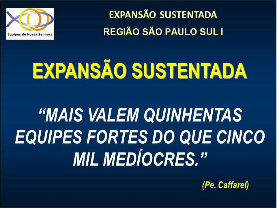 EXPANSÃO SUSTENTADA MAIS VALEM QUINHENTAS EQUIPES FORTES DO QUE CINCO MIL MEDÍOCRES. (Pe. Caffarel)