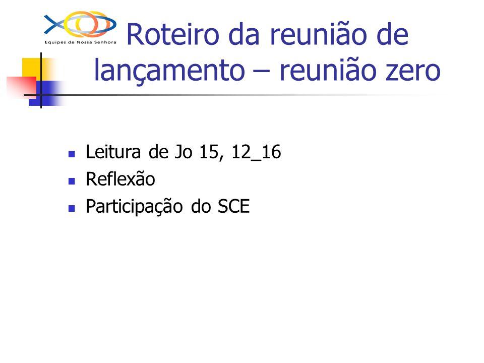 Roteiro da reunião de lançamento – reunião zero Leitura de Jo 15, 12_16 Reflexão Participação do SCE
