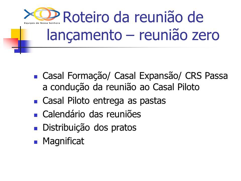 Roteiro da reunião de lançamento – reunião zero Casal Formação/ Casal Expansão/ CRS Passa a condução da reunião ao Casal Piloto Casal Piloto entrega a