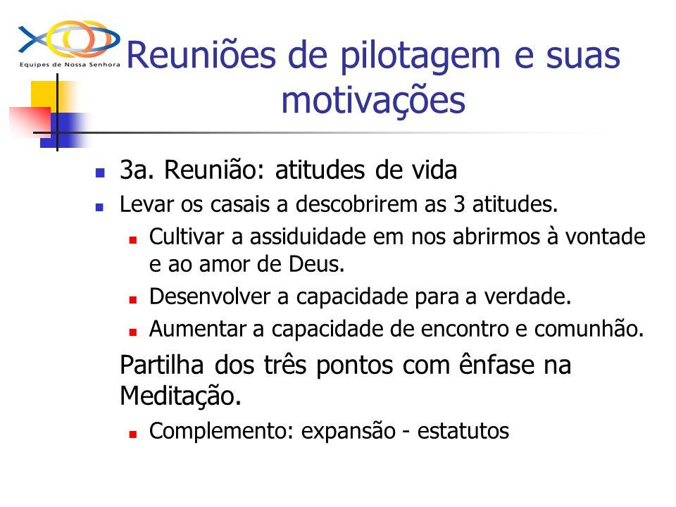 Reuniões de pilotagem e suas motivações 3a. Reunião: atitudes de vida Levar os casais a descobrirem as 3 atitudes. Cultivar a assiduidade em nos abrir