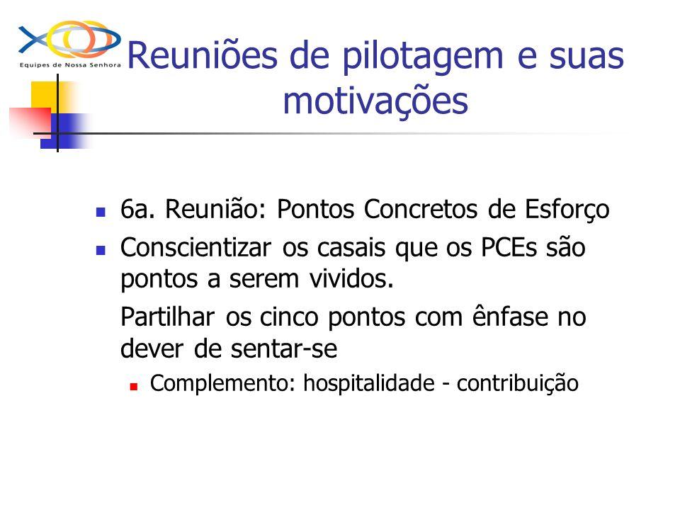 Reuniões de pilotagem e suas motivações 6a. Reunião: Pontos Concretos de Esforço Conscientizar os casais que os PCEs são pontos a serem vividos. Parti
