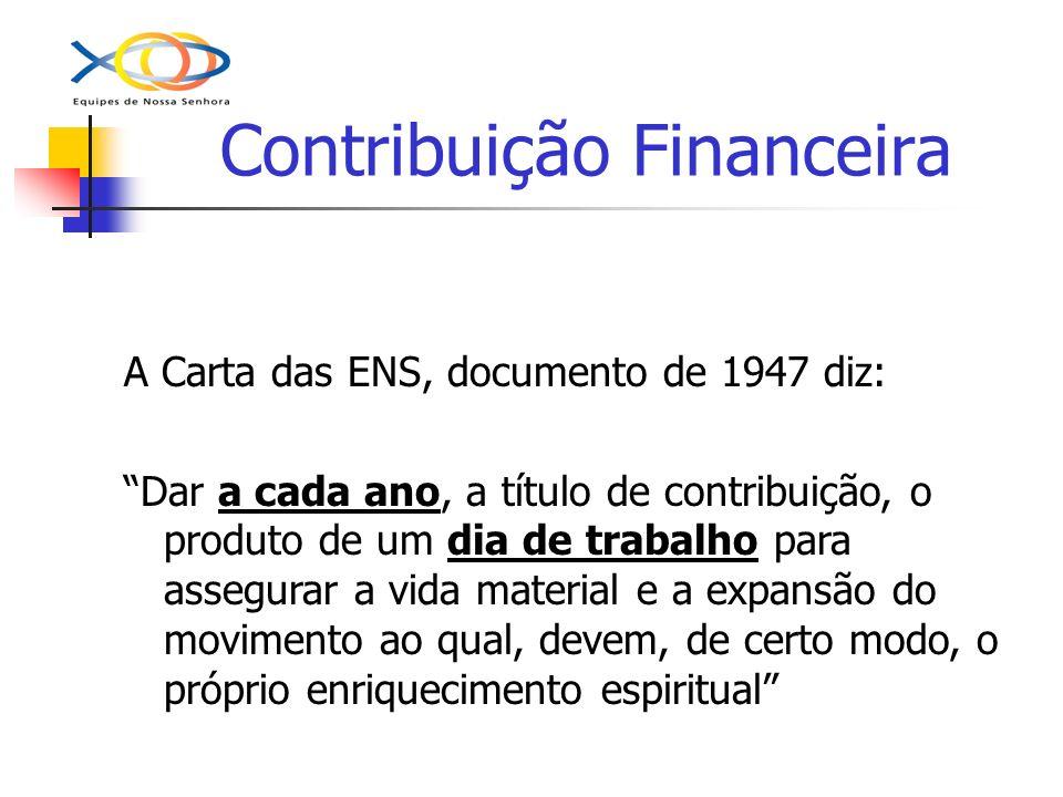 Contribuição Financeira A Carta das ENS, documento de 1947 diz: Dar a cada ano, a título de contribuição, o produto de um dia de trabalho para assegur