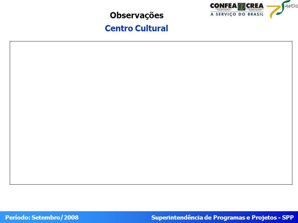 Superintendência de Programas e Projetos - SPP Período: Setembro/2008 Observações Centro Cultural