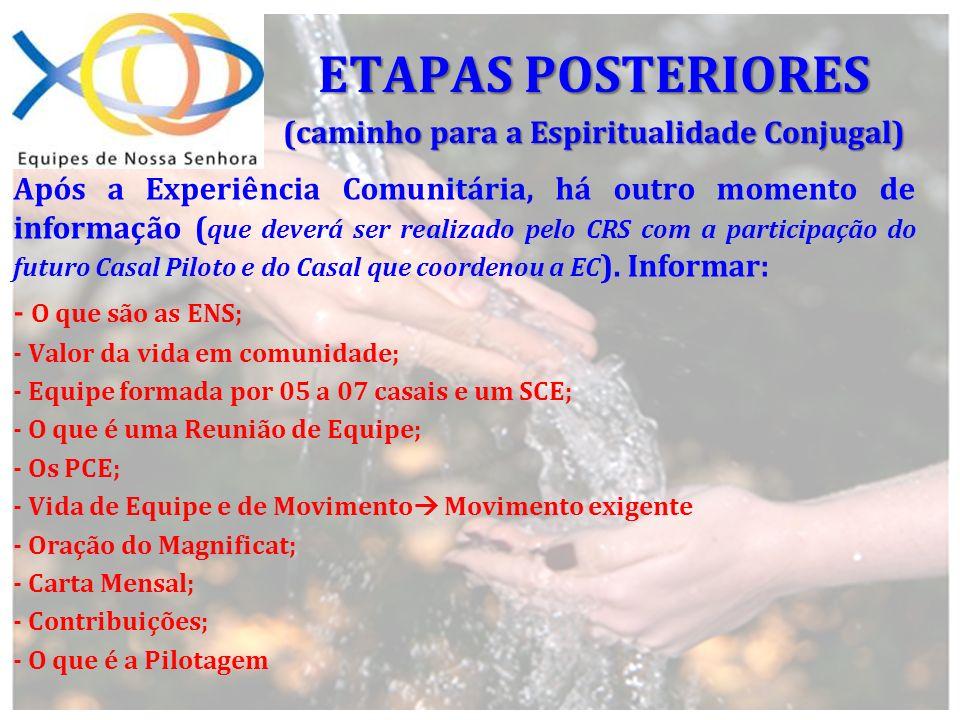 Após a Experiência Comunitária, há outro momento de informação ( que deverá ser realizado pelo CRS com a participação do futuro Casal Piloto e do Casa
