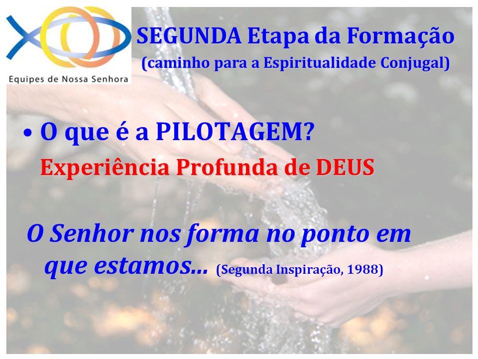 O que é a PILOTAGEM? Experiência Profunda de DEUS SEGUNDA Etapa da Formação (caminho para a Espiritualidade Conjugal) O Senhor nos forma no ponto em q