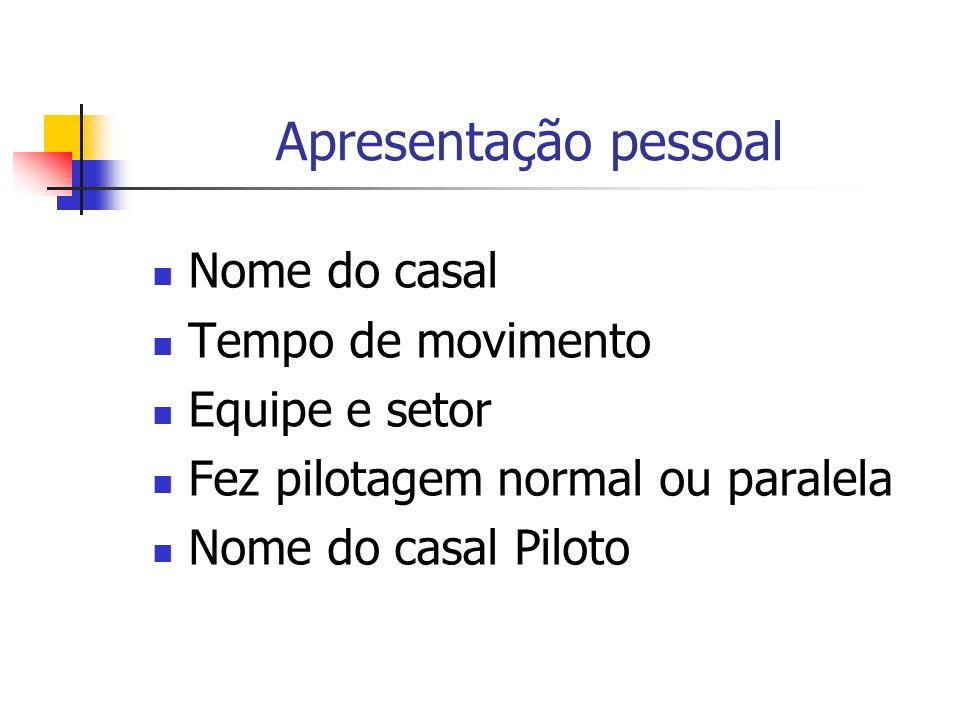 Apresentação pessoal Nome do casal Tempo de movimento Equipe e setor Fez pilotagem normal ou paralela Nome do casal Piloto