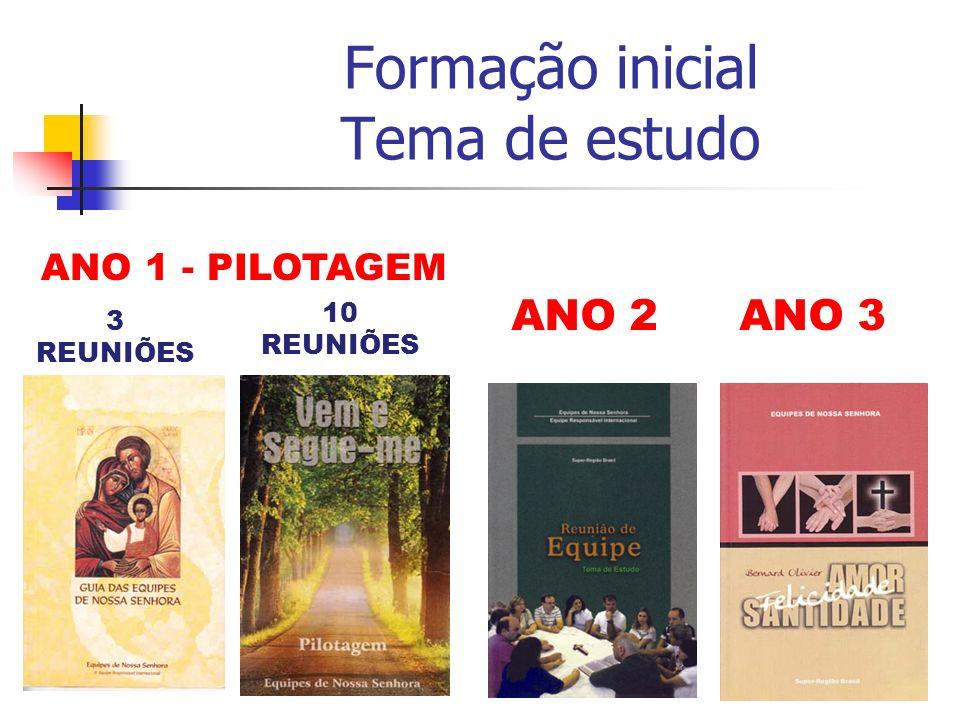 ANO 1 - PILOTAGEM ANO 2ANO 3 3 REUNIÕES Formação inicial Tema de estudo 10 REUNIÕES