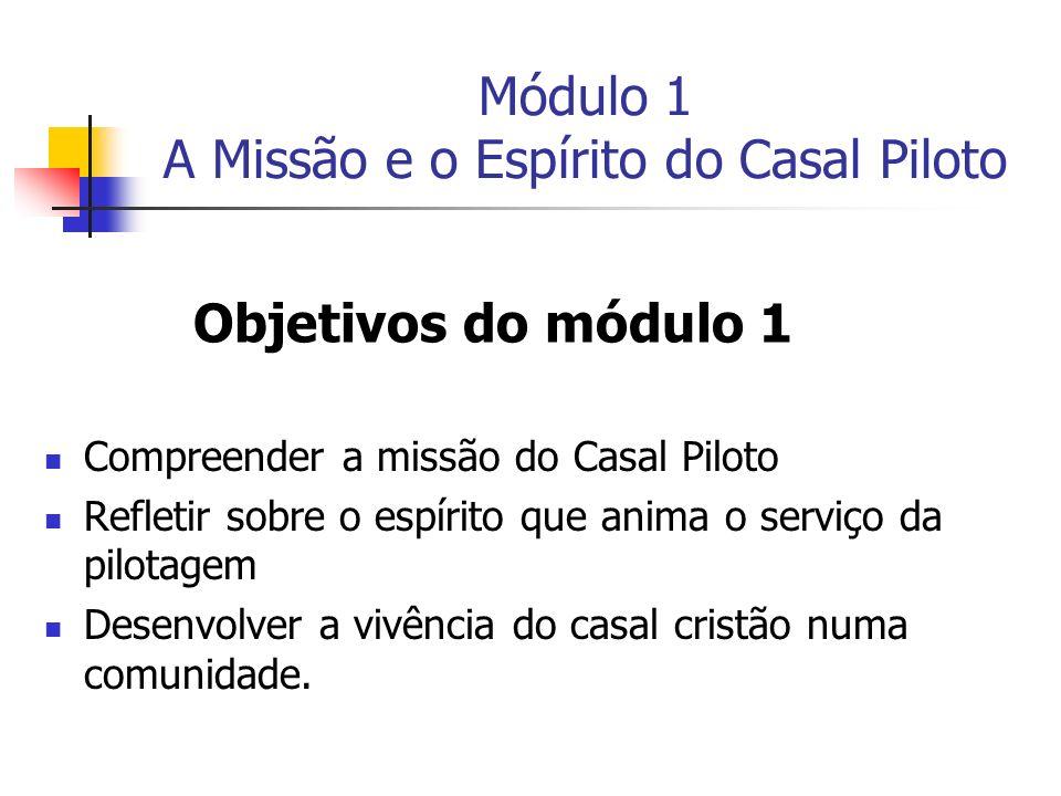 Módulo 1 A Missão e o Espírito do Casal Piloto Compreender a missão do Casal Piloto Refletir sobre o espírito que anima o serviço da pilotagem Desenvo