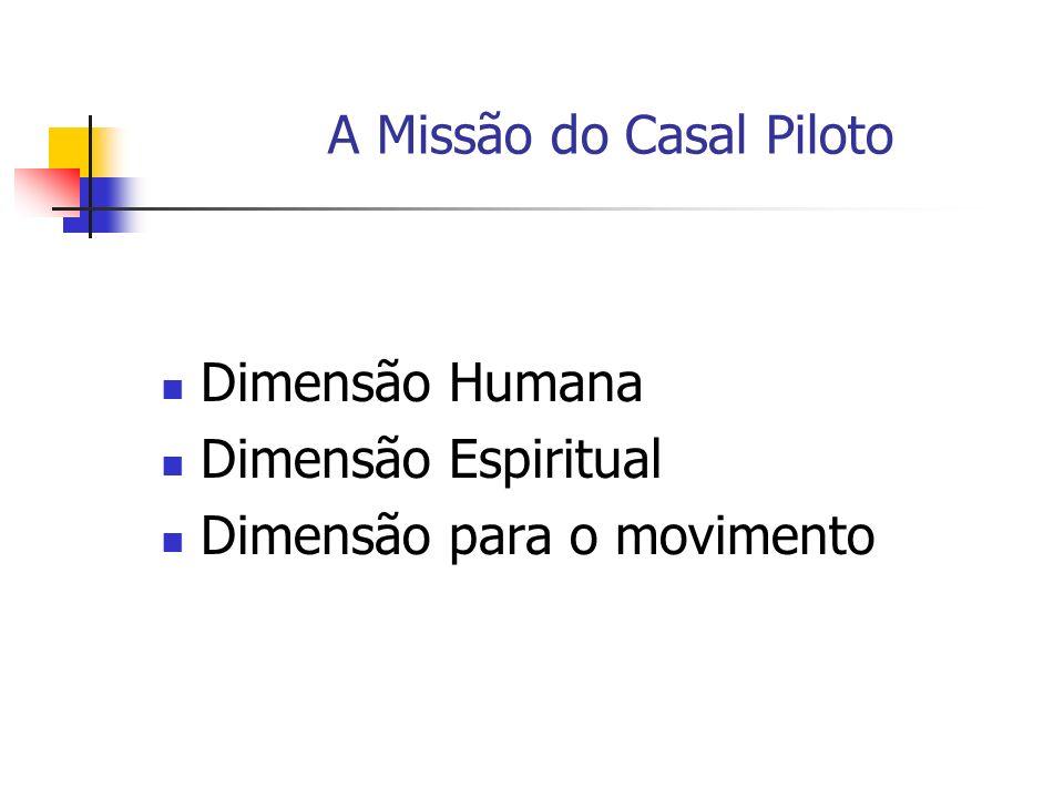 Dimensão Humana Dimensão Espiritual Dimensão para o movimento A Missão do Casal Piloto