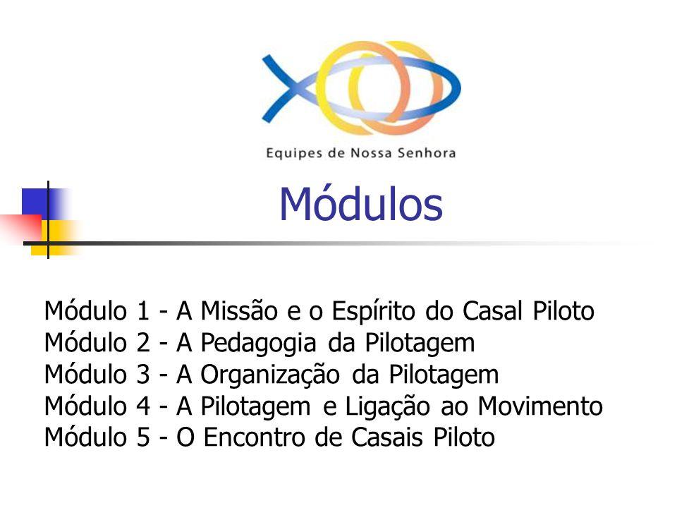 Módulos Módulo 1 - A Missão e o Espírito do Casal Piloto Módulo 2 - A Pedagogia da Pilotagem Módulo 3 - A Organização da Pilotagem Módulo 4 - A Pilota