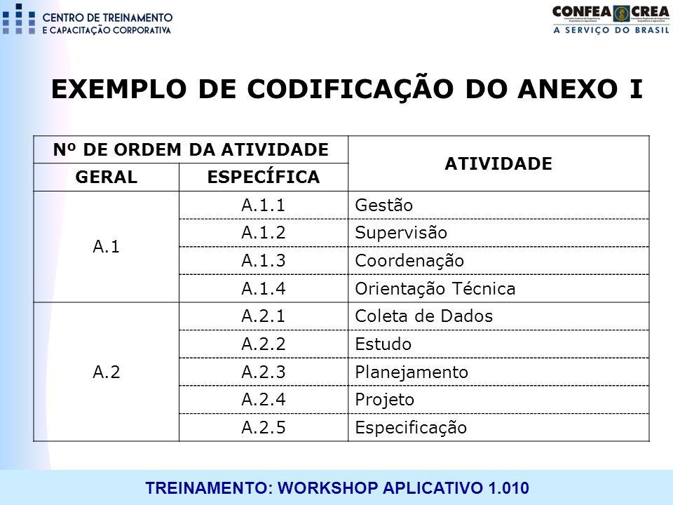 TREINAMENTO: WORKSHOP APLICATIVO 1.010 EXEMPLO DE CODIFICAÇÃO DO ANEXO I Nº DE ORDEM DA ATIVIDADE ATIVIDADE GERALESPECÍFICA A.1 A.1.1Gestão A.1.2Super