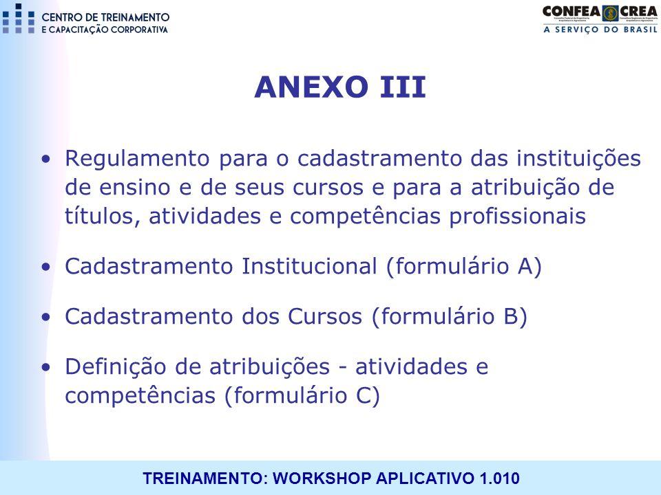 TREINAMENTO: WORKSHOP APLICATIVO 1.010 ANEXO III Regulamento para o cadastramento das instituições de ensino e de seus cursos e para a atribuição de t