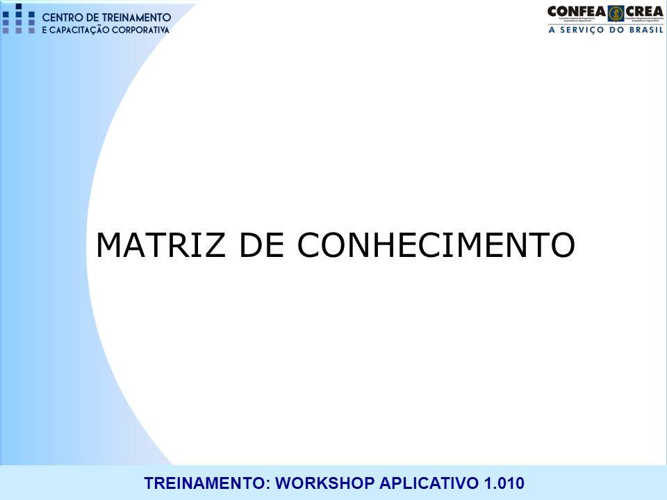 TREINAMENTO: WORKSHOP APLICATIVO 1.010 MATRIZ DE CONHECIMENTO Objetivo: Tornar o processo de concessão de atribuições menos analítico e mais automatizado.