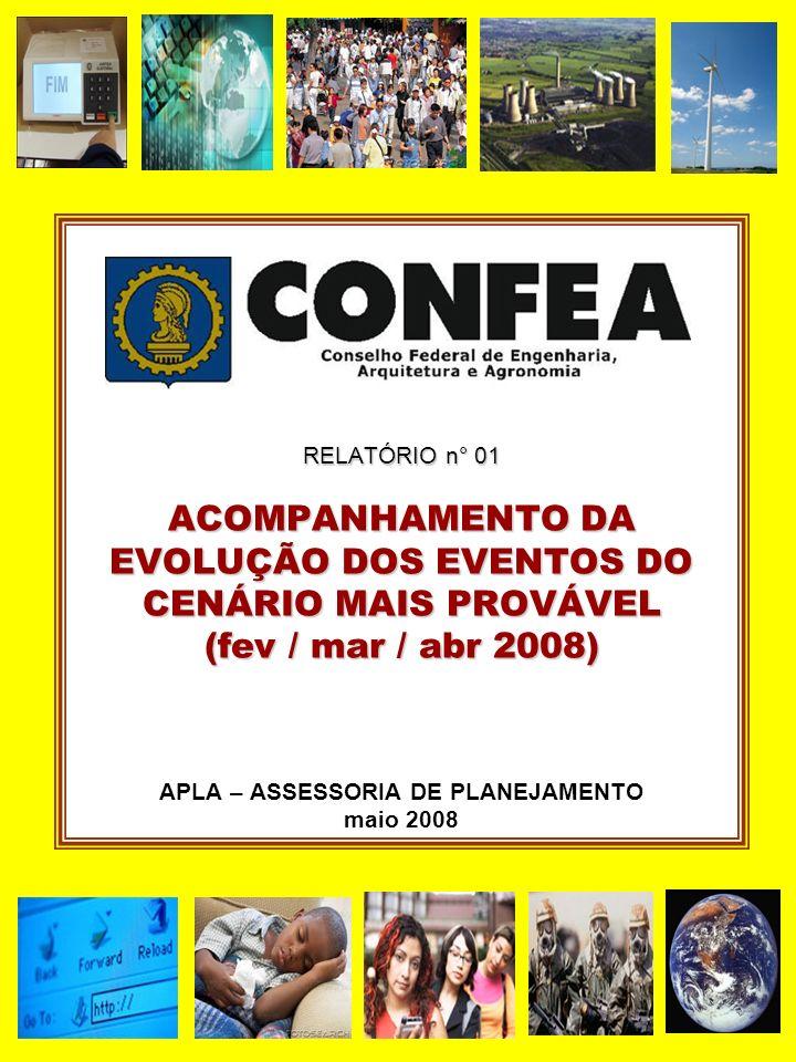 RELATÓRIO n° 01 ACOMPANHAMENTO DA EVOLUÇÃO DOS EVENTOS DO CENÁRIO MAIS PROVÁVEL (fev / mar / abr 2008) RELATÓRIO n° 01 ACOMPANHAMENTO DA EVOLUÇÃO DOS