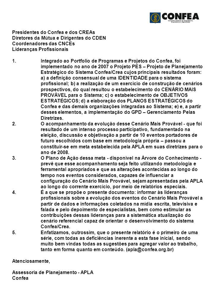 Presidentes do Confea e dos CREAs Diretores da Mútua e Dirigentes do CDEN Coordenadores das CNCEs Lideranças Profissionais 1.Integrado ao Portfolio de