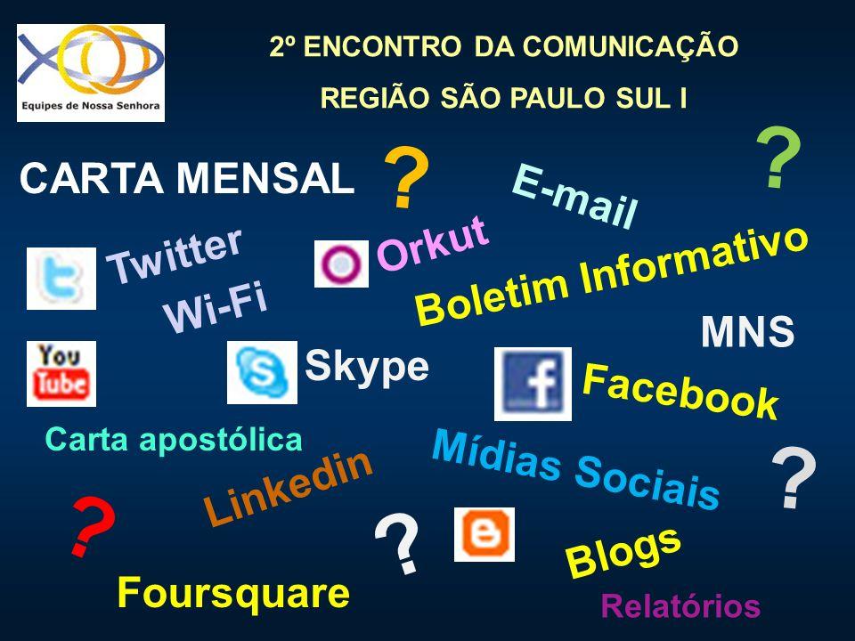 2º ENCONTRO DA COMUNICAÇÃO REGIÃO SÃO PAULO SUL I Wi-Fi Skype Orkut E-mail Facebook Boletim Informativo Linkedin Mídias Sociais CARTA MENSAL Blogs Fou
