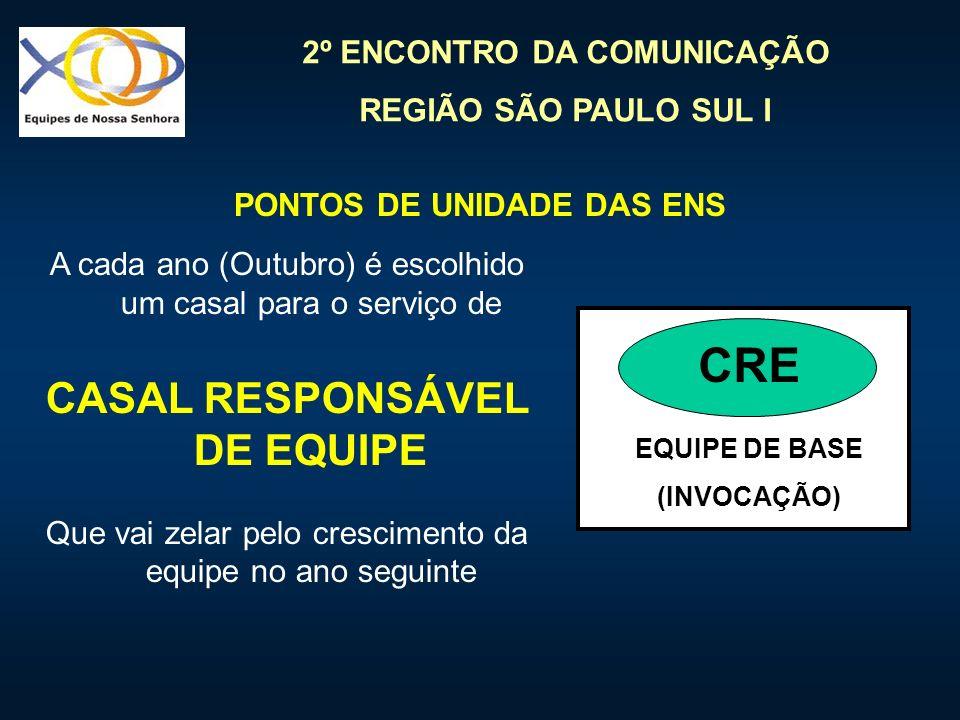 2º ENCONTRO DA COMUNICAÇÃO REGIÃO SÃO PAULO SUL I EQUIPE DE BASE (INVOCAÇÃO) CRE A cada ano (Outubro) é escolhido um casal para o serviço de CASAL RES
