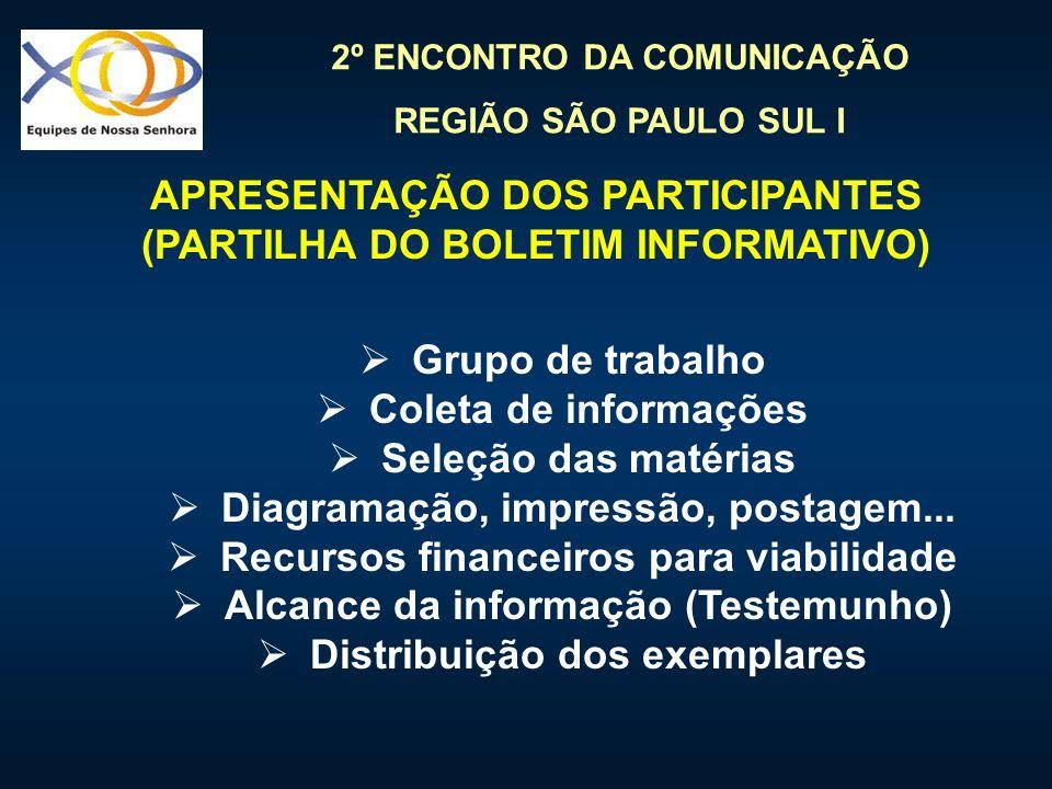 2º ENCONTRO DA COMUNICAÇÃO REGIÃO SÃO PAULO SUL I Grupo de trabalho Coleta de informações Seleção das matérias Diagramação, impressão, postagem... Rec
