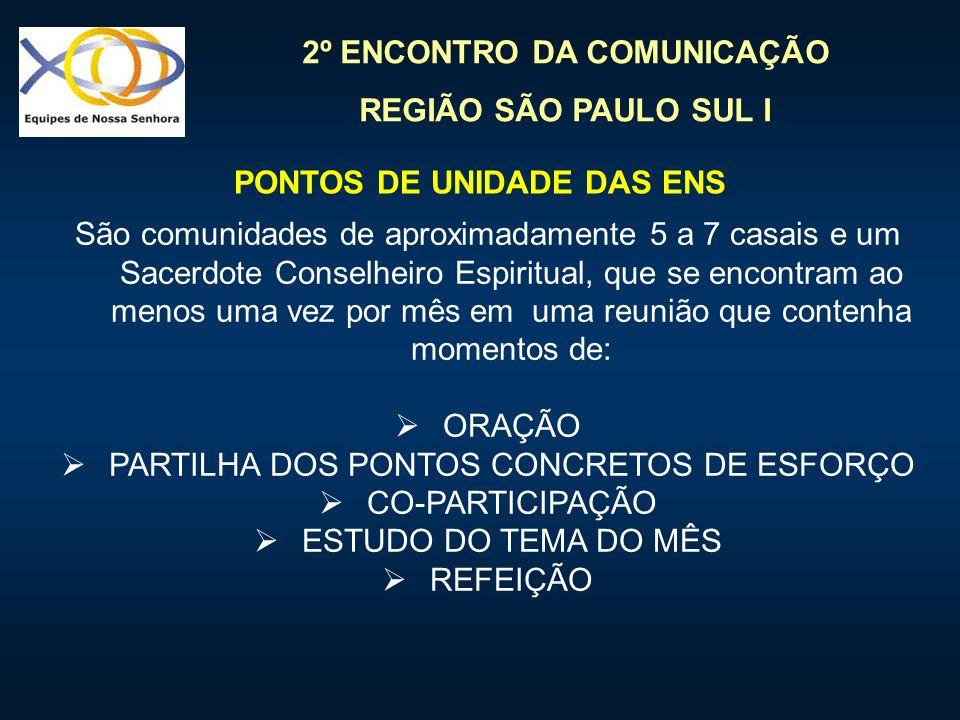 2º ENCONTRO DA COMUNICAÇÃO REGIÃO SÃO PAULO SUL I São comunidades de aproximadamente 5 a 7 casais e um Sacerdote Conselheiro Espiritual, que se encont