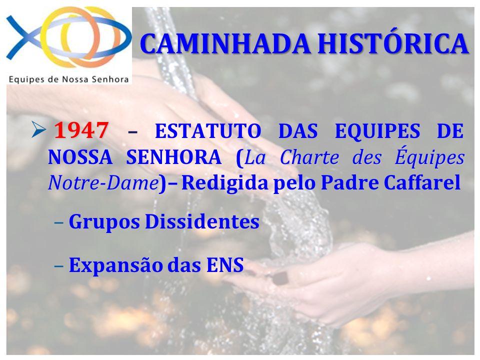 1947 La Charte des Équipes Notre-Dame 1947 – ESTATUTO DAS EQUIPES DE NOSSA SENHORA (La Charte des Équipes Notre-Dame)– Redigida pelo Padre Caffarel –G