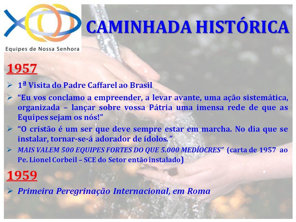 1957 1 ª Visita do Padre Caffarel ao Brasil Eu vos conclamo a empreender, a levar avante, uma ação sistemática, organizada – lançar sobre vossa Pátria