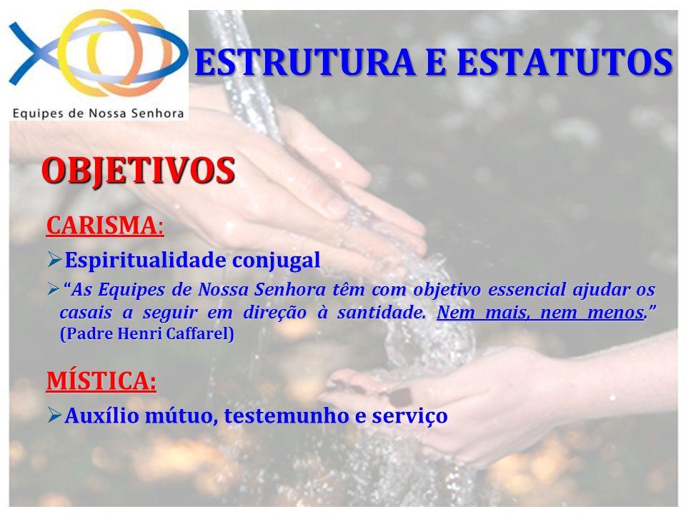 CARISMA: Espiritualidade conjugal As Equipes de Nossa Senhora têm com objetivo essencial ajudar os casais a seguir em direção à santidade. Nem mais, n