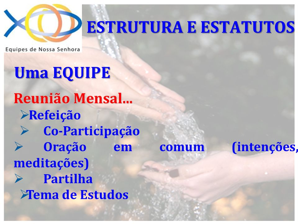 Uma EQUIPE Reunião Mensal... Refeição Co-Participação Oração em comum (intenções, meditações) Partilha Tema de Estudos ESTRUTURA E ESTATUTOS